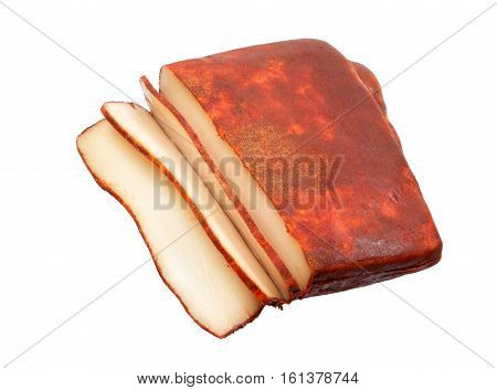Lard bacon flavored with pepper isolated on white background