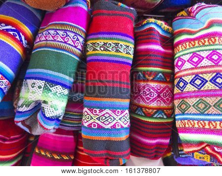 Traditional Souvenirs At The Market In La Paz, Bolivia.