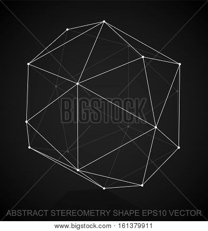 Abstract stereometry shape: White sketched Octahedron with Reflection. Hand drawn 3D polygonal Octahedron. EPS 10, vector illustration.