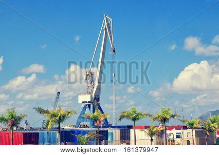 Industrial Harbor, Containers And Crane In Santa Cruz De Tenerife. Tenerife Port. Canary Islands, Sp