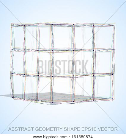 Abstract geometry shape: Multicolor sketched Cube with Transparent Shadow. Hand drawn 3D polygonal Cube. EPS 10, vector illustration.