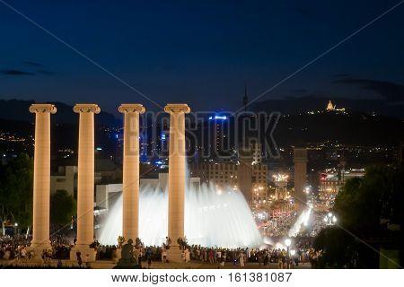 Panoramic Of Montjuic, Spain.