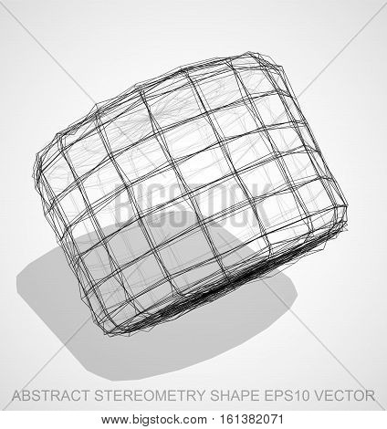 Abstract geometry shape: Ink sketched Cylinder with Transparent Shadow. Hand drawn 3D polygonal Cylinder. EPS 10, vector illustration.