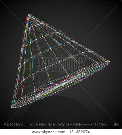 Abstract stereometry shape: Multicolor sketched Cone with Reflection. Hand drawn 3D polygonal Cone. EPS 10, vector illustration.