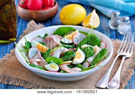 Salad of squid with boiled quail and chicken eggs, radish, green apple and baby spinach with olive oil and lemon juice.