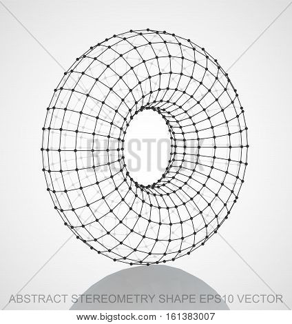 Abstract stereometry shape: Black sketched Torus with Reflection. Hand drawn 3D polygonal Torus. EPS 10, vector illustration.