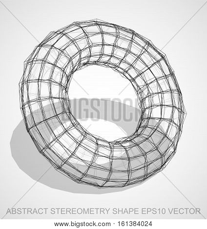 Abstract stereometry shape: Ink sketched Torus with Transparent Shadow. Hand drawn 3D polygonal Torus. EPS 10, vector illustration.