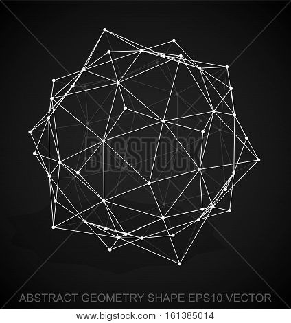 Abstract geometry shape: White sketched Dodecahedron with Transparent Shadow. Hand drawn 3D polygonal Dodecahedron. EPS 10, vector illustration.
