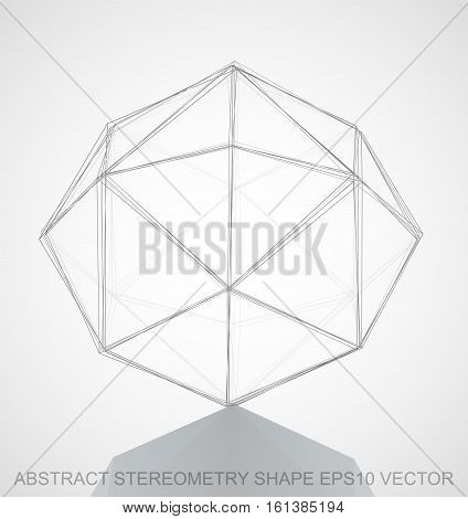 Abstract stereometry shape: Pencil sketched Octahedron with Reflection. Hand drawn 3D polygonal Octahedron. EPS 10, vector illustration.
