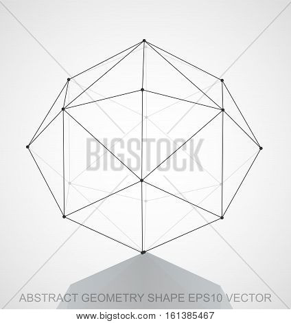 Abstract stereometry shape: Black sketched Octahedron with Reflection. Hand drawn 3D polygonal Octahedron. EPS 10, vector illustration.