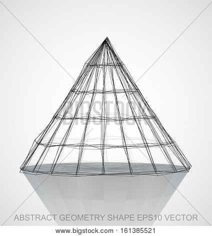 Abstract geometry shape: Ink sketched Cone with Reflection. Hand drawn 3D polygonal Cone. EPS 10, vector illustration.