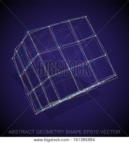 Abstract stereometry shape: Multicolor sketched Cube with Transparent Shadow. Hand drawn 3D polygonal Cube. EPS 10, vector illustration.
