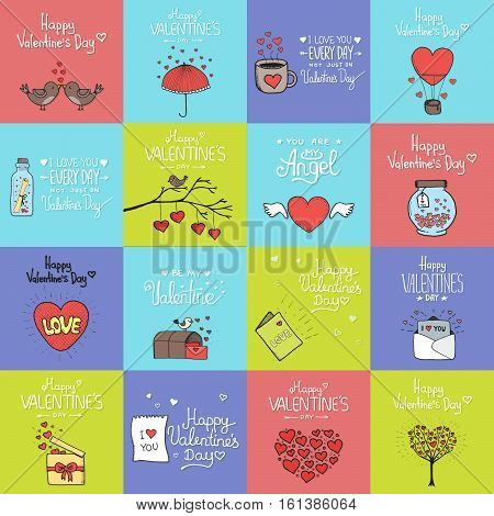 Valentines day set - emblems and cards. Vector illustration.