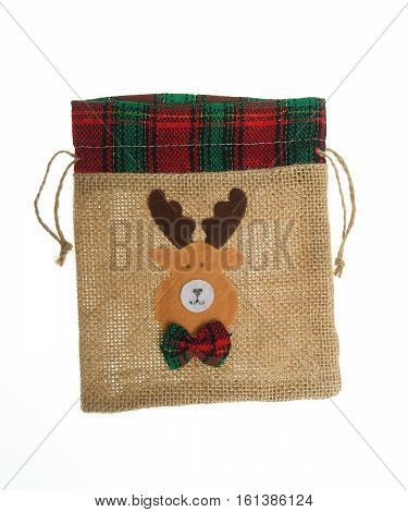 Funny  jute gift  bag, Christmas deco, isolated on white