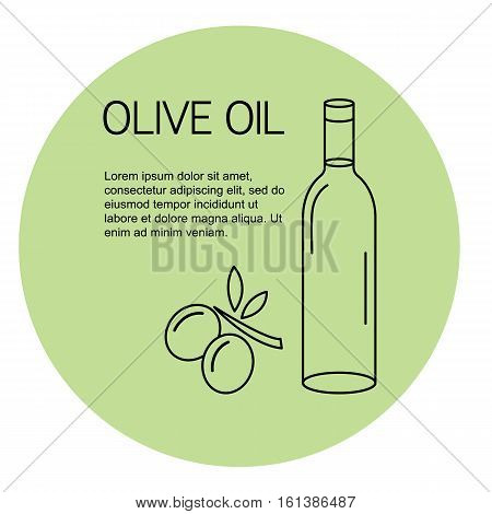 Olive oil bottle with olive oil branch on light green background. Great template for olive oil products.