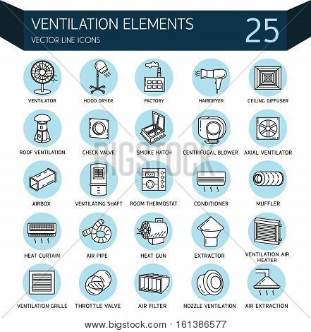 Vector thin line icon of ventilation. Linear pictogram with editable strokes for ventilation elements. Elements - ventilator heat gun room thermostat conditioner filter pipe and air extraction.