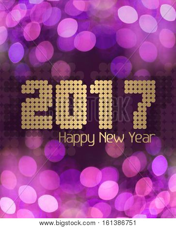 Happy New Year 2017 on glittery pink background