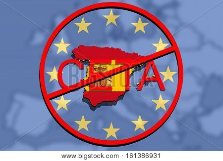 anty CETA - comprehensive economic and trade agreement on Euro Union background Spain map