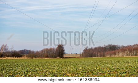 close up on Hi-voltage electrical pylons against blue sky