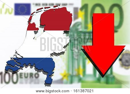 Holland Map On Euro Money Background And Red Arrow Down