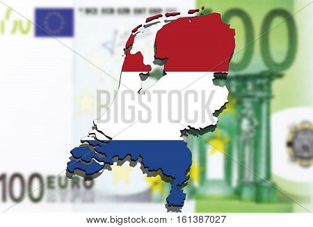 close up on Netherland map on Euro money background