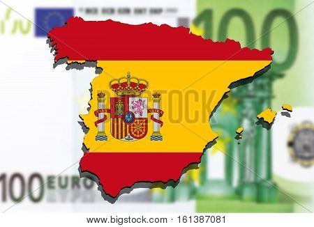 close up on Spain map on Euro money background