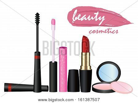 sets cosmetics vector beauty fashion isolated on background. Sets cosmetics banner and vector illustration.