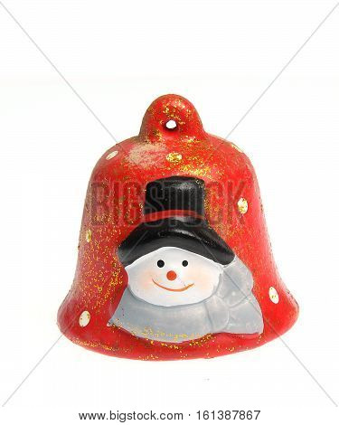 red ceramic bell, christmas decoration isolated on white background