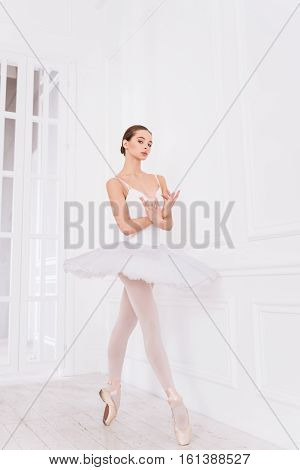 My job. Elegant ballerina wearing points and fluffy skirt crossing her arms in front of chest standing on tiptoes while posing in studio