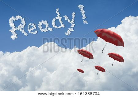 Many Red Umbrella Floating Above Against Blue Sky And Cloud.sunny Day.cloudscape.close Up The Cloud.