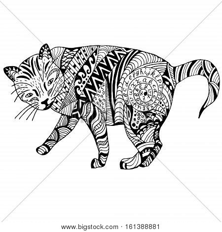 Cat Hand drawn sketched vector illustation. Doodle graphic with ornate pattern. Design Isolated on white.