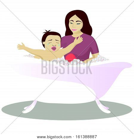 Mother washes crying child in bath vector illustration