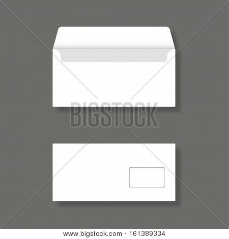 Blank Envelope With Window Front And Back View Mockup