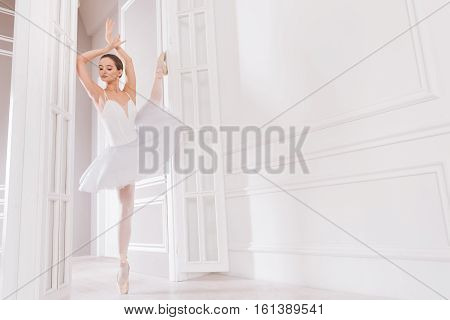 Dance with me. Delighted elegant ballerina wearing beige points holding arms in the air while standing on tiptoes