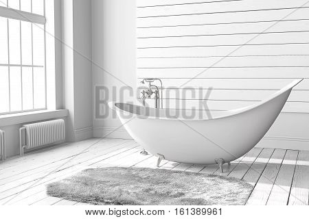 Blank bright bathroom with large windows wooden floors and a large bathtub. Minimalistic loft bathroom mockup. 3D rendering