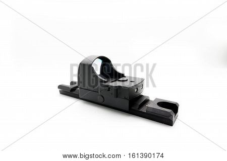 Reflex Sight Is A Side View On White Background.