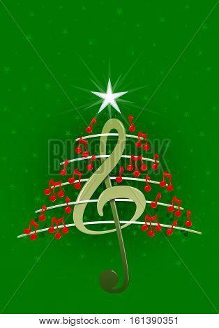 Christmas tree made of red musical notes, treble clef and pentagram on green background with stars  - Vector image