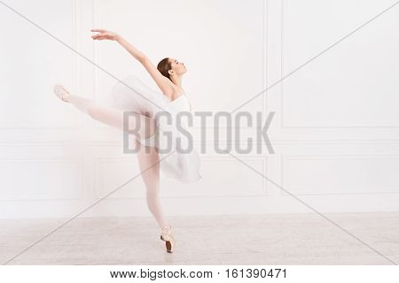 Great atmosphere. Graceful young woman wearing white leotard with tutu posing sideways while standing in ballet pose