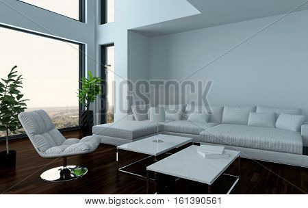 Modern light white living room interior with couch and dark wooden parquet floor with a houseplant standing in an oriel. 3d Rendering