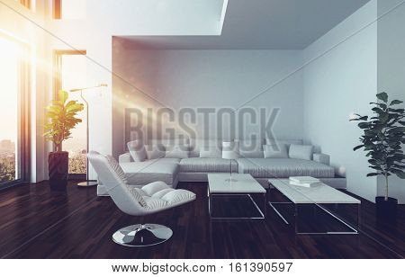 Modern living room interior with oriel and oversized panorama windows and white couch lit with a sunbeam from aside. 3d Rendering