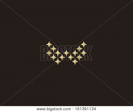 Stars letter W vector logotype. Luxury abc icon sign. Shiny elegance font symbol. Celebrity glamorous type logo