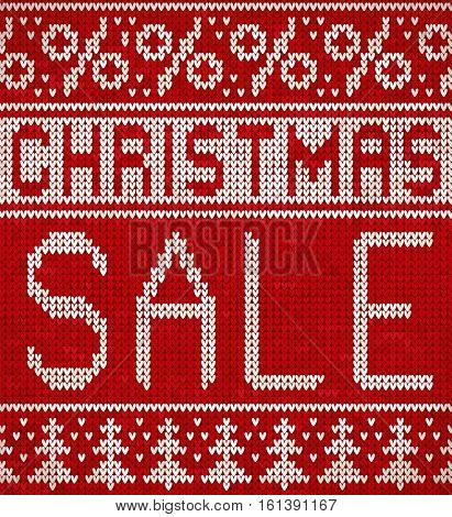 Christmas Sale, knitting pattern with a Christmas trees and percentage signs. Knitted holiday design