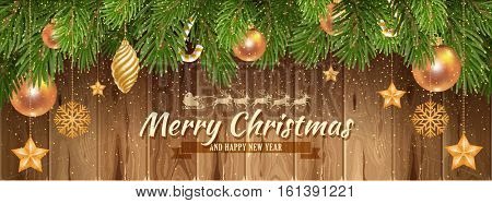 Elegant and Luxury Christmas banner template. Decorated Christmas tree on wooden background. Vector illustration.