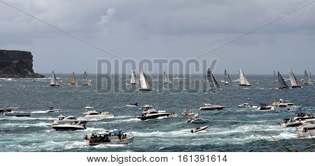 Sydney Australia - December 26 2012. Participants yachts reached the Tasman Sea. Sydney to Hobart Yacht Race is an annual event starting in Sydney on Boxing Day and finishing in Hobart.