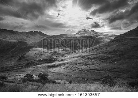 Sun Rays Falling onto Spectacular Welsh Mountains Black and White