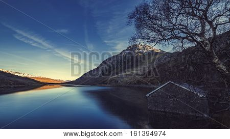 Scenic View over Llyn Ogwen Lake in Snowdonia North Wales