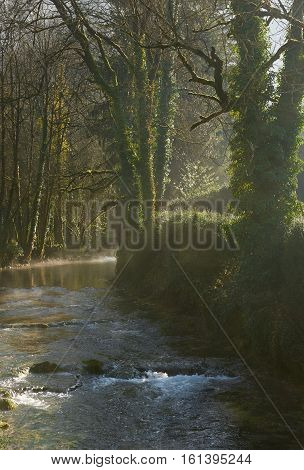 Small river runs through the centre of the Baume-les-Messieurs village. Jura department of Franche-Comte. France