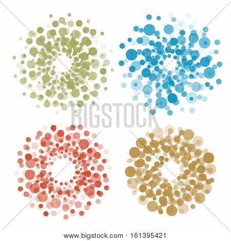 Abstract circle logotype set. Colorful dotted round isolated chem logo collection. Virus icon. Unusual sun. Flower symbol. Spiral sign.Vector germs illustration