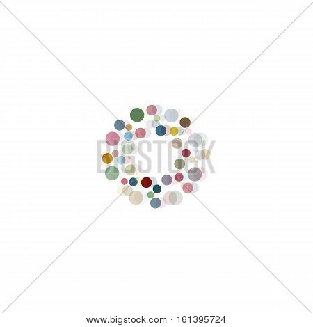 Abstract circle logotype set. Unusual dotted round isolated chem logo collection. Virus icon. Colorful sun. Flower symbol. Confetti sign.Vector germs illustration