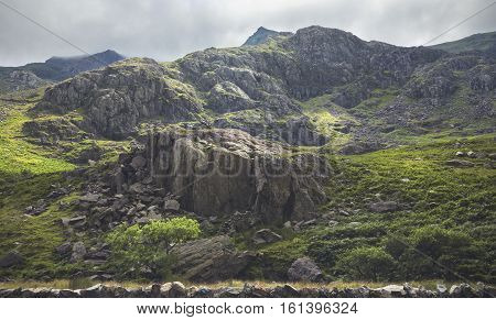 Green Rocky Slopes of North Wales UK